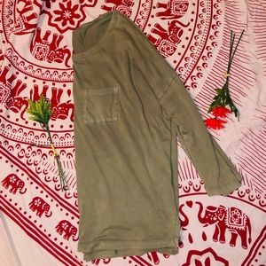 Gap Olive Green Swoop Neck Slouch Neck Long Sleeve